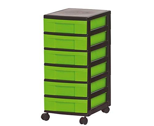 Unbekannt Rollcontainer mit 6 Kleinen Schüben, grün
