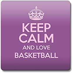 Morado KEEP CALM AND LOVE baloncesto imán color 1139