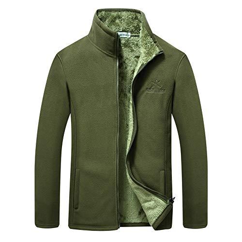 Luckygirls uomo ispessito pile moda tute giacca cappotto (verde militare,l)
