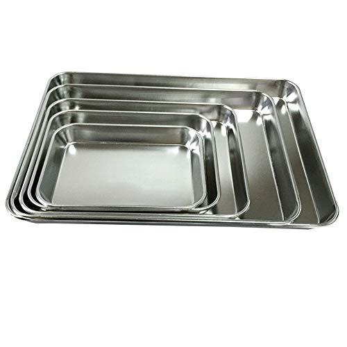 Steellwingsf - Bandeja rectangular para horno, galletas, pizza, acero inoxidable 4#