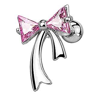 Piercingfaktor Piercing Ohr aus Chirurgenstahl Helix Tragus Ohrpiercing Cartilage Barbell Stecker Schleife mit funkelnden Kristallen Silber Pink