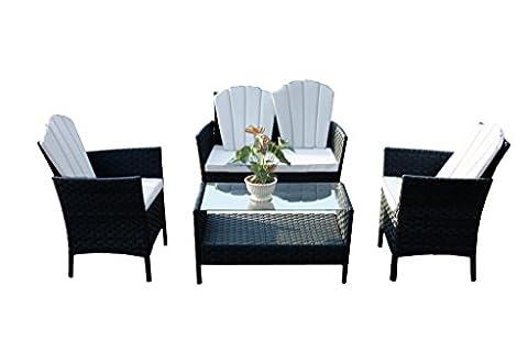 yakoe 50129Eton Range Outdoor Gartenmöbel Wintergarten Terrasse Sofa Stühle und Tisch Set–Schwarz (4-teilig)