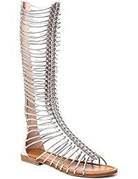 La Modeuse - Sandales montantes style spartiate en simili cuir