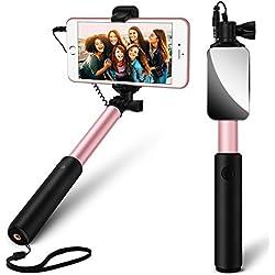 Yarrashop Bastone Selfie [No Bluetooth] allungabile Portatile Autoritratto selfie Sticks con Vastsean specchio Universale per iPhone, Samsung, HUAWEI, Sony, HTC e Altri Smartphone (Oro rosa)