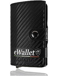 Porta Carte di credito, eWallet, Portafoglio, Blocco RFID, in Pelle PU, Schermato, Elegante, Piccolo, Leggero, Trama in Fibra di Carbonio (Nero), Confezione Regalo