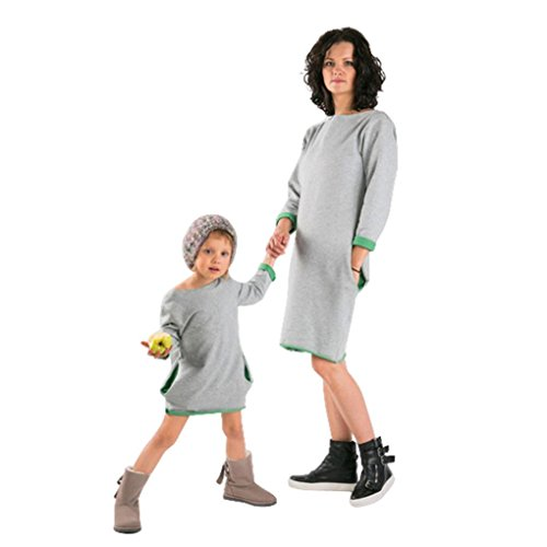 Luckycat Mode Familie Mutter Kinder T-Shirt passenden Outfit Langarm O-Ausschnitt Kleid (5T--120cm, Grün)