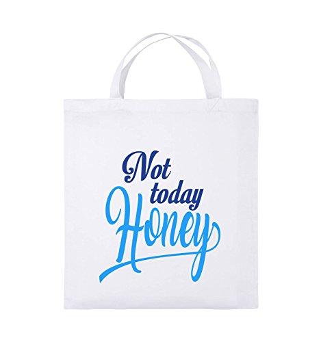 Comedy Bags - Not today Honey - Jutebeutel - kurze Henkel - 38x42cm - Farbe: Schwarz / Weiss-Neongrün Weiss / Royalblau-Hellblau