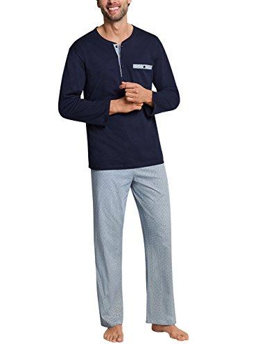 Schiesser Herren Zweiteiliger Schlafanzug Anzug Lang 159630', Blau (Dunkelblau Gemustert), Medium (Herstellergröße 098)