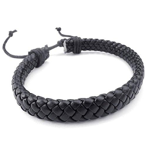 MENDINO da uomo in pelle intrecciata, con cinturino a bracciale Braccialetto in corda regolabile, colore: nero