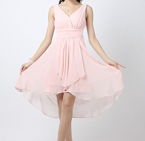 robe courte rose mousseline nu dos Rose