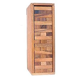 Logica Giochi art. CONDOMINIO – Legno Teak – Gioco da Tavolo – Gioco in Legno Naturale – Torre Traballante