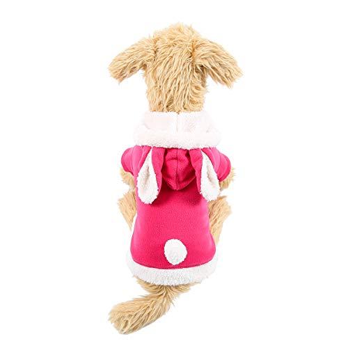 QDOUPET Weich Winter Pet Kleidung rosa niedlich Kaninchen Stil Hoodie Coat für Hunde, L, Rose (Tägliche E-mail-hund Halloween-kostüme)