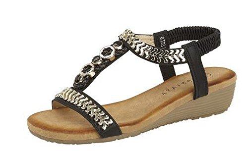 Cipriata Ladies Black Gold Jewelled Low Heeled Wedge Sandals L082A KD-UK 8 (EU 41) (Kd-8 Schuhe)