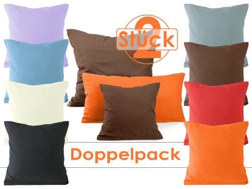Doppelpack zum Sparpreis - Microfaser-Kissenhüllen - Wohndekoration in schlichtem Design - 8 modernen Uni-Farben und 3 Größen, 40 x 80 cm, rauschblau