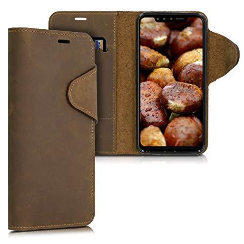 kalibri Cover per LG G8s ThinQ - Custodia Protettiva a Portafoglio per Cellulare in Vera Pelle con Porta Carte e Funzione Stand - Wallet Case