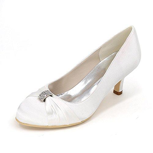 L@YC Talons hauts des femmes Chaussures de mariage confortables Fine avec mariage en satin Couleur de mariage Multicolore Code Blanc