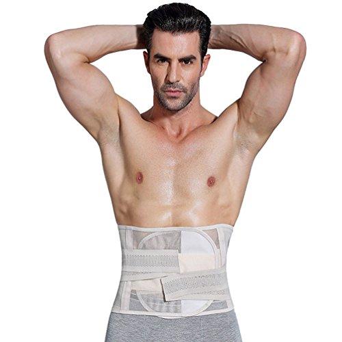 verstellbar Taille Trimmer Gürtel Brust Body Shaper Taille Drahtreifen Korsett Girdle-Reduzierstück Training Gürtel für Herren Gewicht Verlust, silberfarben, M
