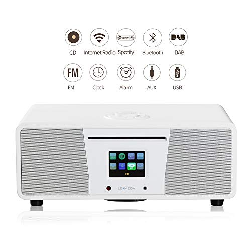 LEMEGA M4+ All-in-One Smart Music System (2.1 Stereo) with CD, Wi-Fi, Internet Radio, Spotify, Bluetooth, DLNA, DAB, DAB+, FM Radio, Clock, Alarms, Presets, and Wireless App Control - Satinweiß