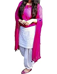 Pure Cotton White & Pink Free Size Patiala Suit (Semi Stitched)
