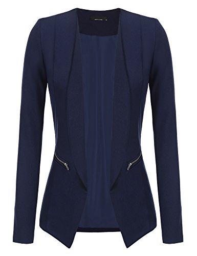 Plunge Damen Blazer kragenlos mit Zipper Langärmliger Blazer mit Vorne Offnung Seitentasche Einfarbig