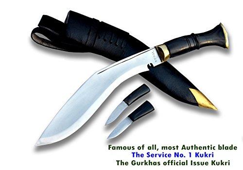 Echtes Gurkha Kukri Messer - 25.50 cm lange Klinge -Service # 1 offizielle gurkha Armee Kukri Buschmesser Messer - hochglanzpoliert, hochgradig benotet Kohlenstoffstahl, Wasser Büffel hupe griff. durchgehendem Erl, schwarzen Lederscheide. Schwerlast Buschmesser, Gesamtlänge 40 cm mit griff. Handgefertigt durch GK&CO.Kukri Haus Fabrik im Nepal