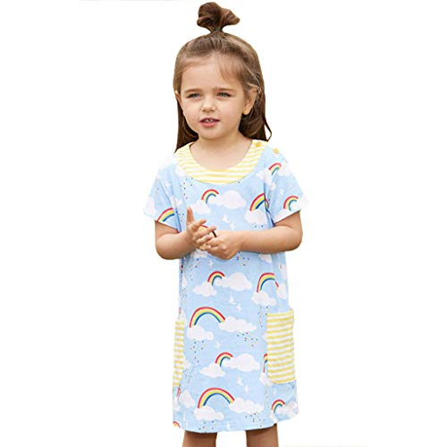 MCYs Sommer-Kleinkind-Baby-Mädchen-Kurzarm-Regenbogen-Druck-Kleid kleidet Kleidung