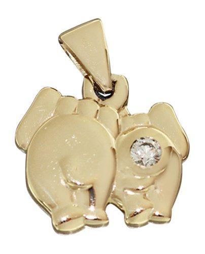 Oro{585} Hobra-colgante de elefante con Circonita Colgante oro Elefant