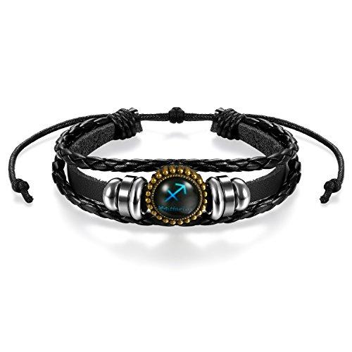 JewelryWe Pulseras del Horóscopo Zodiaco Sagitario, Retro Vintage Brazalete de Hombre Mujer, Azul Simbolo de Estrellas de Buena Suerte, Buen Regalo de Navidad San Valentin