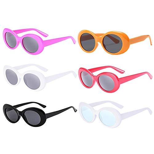 FSMILING Retro Ovale Neon Farbige Schutzbrille Kurt Cobain Party Sonnenbrille(6-Mehrfarbig)