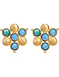 Gehna Yellow Gold and Exotic Opal Stud Earrings
