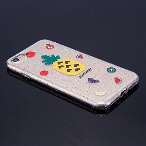 Custodia iPhone 7, Case Cover iPhone 8 in Silicone Glitter TPU, Surakey Bumper iPhone 7 / 8 Cover Morbida Gomma Premium Semi Hybrid Crystal Clear Cassa del Telefono con Disegno Cartoon Divertente Sott Ananas