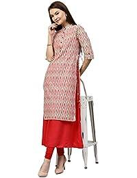 [Sponsored]Jaipur Kurti Women's Pure Chanderi 2pc Long Kurta With Tassels & Kalidaar Inner (Off-White)
