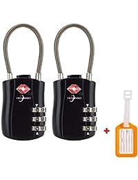 Equipaje de TSA Luggage Locks Equipaje Aprobadas por Cerraduras de Pasaporte de Combinación de Marcación (2pac) para Maletas de Mano Gimnasio Black Lockers de Contraseñas y más