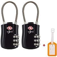TSA zugelassene Luggage Locks Gepäckschlösser 3 Zifferblatt Combination (2pac) Pass Schloss für Koffer Kofferschloss Zahlenschloss Taschen Gym Passwort Schliessfächer und mehr Rucks