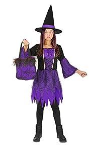FIORI PAOLO Bruja la noche Disfraz Niña con bolsa con aplicaciones de encaje, morado 8-10 anni violeta