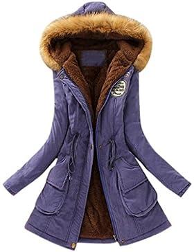 [Patrocinado]PAOLIAN Mujeres Caliente Abrigo largo cuello piel chaqueta con capucha Slim Ropa de abrigo parka de invierno