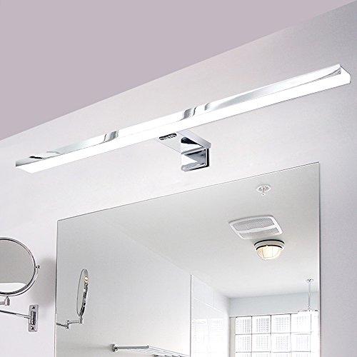 Lampe Salle de Bain LED 8W 600LM Blanc IP44 Aluminium-Eclairage Pour Miroir Maquillage Armoire de toilette Meuble-Avec Support pour Fixer au Mur, Applique Mural, Câble50CM, LED 49.5 x1.2x8 CM (Blanc froid)
