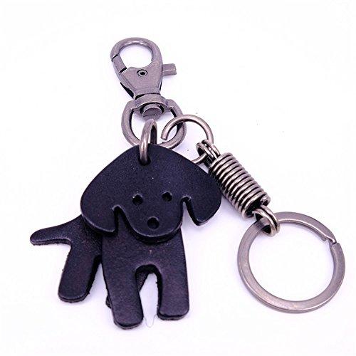 Kuschelig liebenswerte Schlüsselanhänger Spielzeug PU Leder Hund Welpen Schlüsselanhänger Keychain Schlüsselanhänger Geschenk (schwarz) -