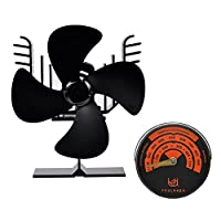 Youlanda 4 Blade Heat Powered Stove Fan for Log Wood Burner, Fireplace Accessories with Stove Thermometer