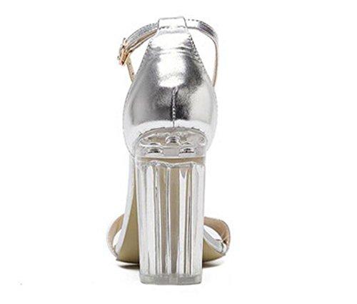 Beauqueen Transparente Ferse Anke Straps Sandalen Open-Toe Chunky High Heel Buckle Limited Edition Schuhe EU Größe 34-40 Gold