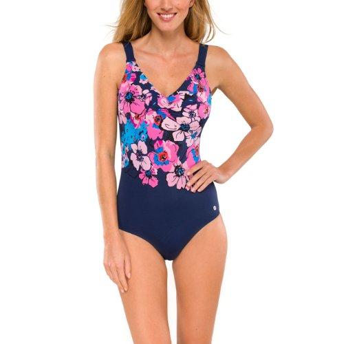 Aqua Floral Pyjama (Schiesser Aqua, Damen Badeanzug, Einteiler, Raffungen, Admiral blau-pink, 140765, Größe:40/ Cup C)
