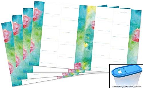 Kigima 80 edle Aufkleber Sticker Klebe-Etiketten Leer 5,2x2,5cm rechteckig bunt Aquarell-Look perfekt für Geschenke, Hochzeit oder Tischdeko