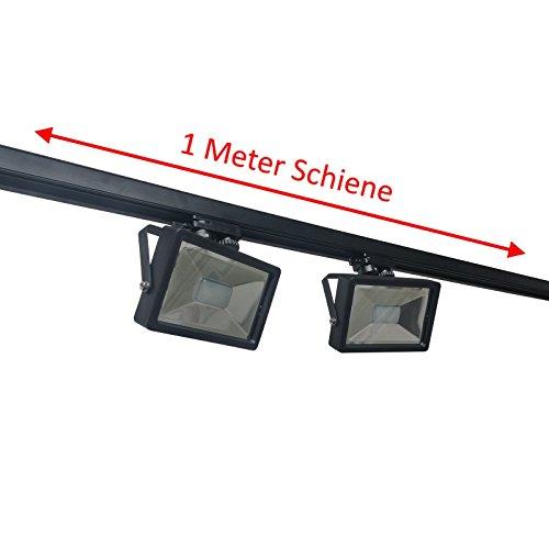 Corriente de carril Sets, 2m, 3x LED Foco Negro, endeinspeisung, con LED de strahlern (Elige 10/20/30/50W, cálida/fría)
