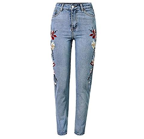 Byjia Femmes Jeans Super Popular Haute Taille 3D Stéréoscopique Sur Les Deux Faces Broderie Fleur Anglaise Multicolor Processus Lourd Lavé Droit Neuf Points Pantalon . Light Blue . 34