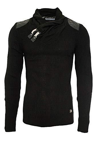 Schalkragen-pullover (Red Bridge Herren Strickpullover Style Funnel Kragen Designer Slim Fit Pullover R41500 (M, Schwarz))