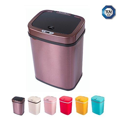 Cubo de basura sensor 12 litros cubo de basura automático cubo de cocina de empuje colorido cocina ecológica baño sala de estar (12 L, acero inoxidable Marrón oscuro)