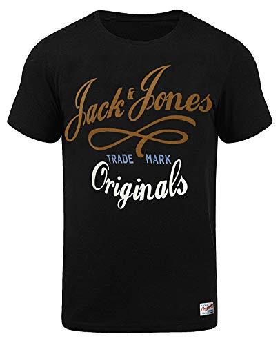 Jack & Jones Herren T-Shirt Shirt Oberteil NEW QUAY TEE Blau Weiß Grau Rot Slim Fit (L, Schwarz (Black Fit:SLIM))