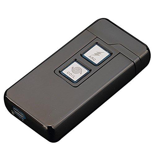 Grill Dual-funktion (2 in 1 Plasma Arc Feuerzeug und Coil Feuerzeug,Aufladbare Winddichte USB Zigarettenanzünder Berührungssteuerung Schwarz von QIMAOO)