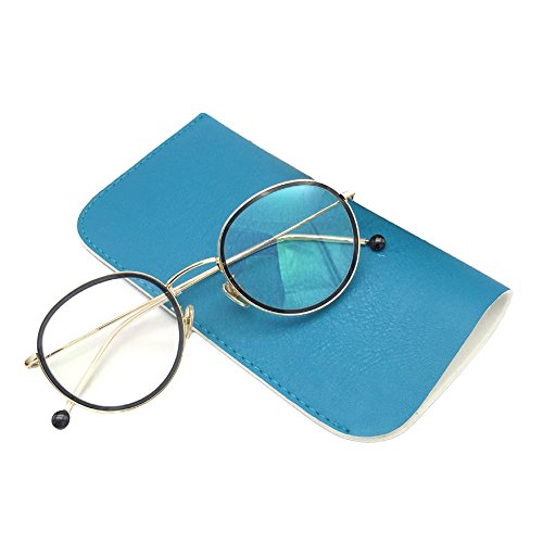 CHUANGLI Portable Soft PU Leather Eyeglass Case Pouch Candy Color Slip In Eyeglass Sunglasses Bag
