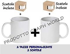 Idea Regalo - 2 TAZZE PERSONALIZZATE CON FOTO - IMMAGINE - FRASE-LOGO O DISEGNO TAZZA